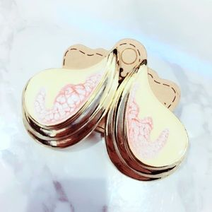 Pink and Gold Tone Statement Earrings Metal
